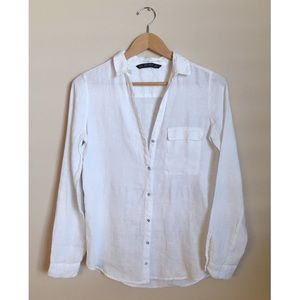 Zara White Linen Long Sleeve Shirt